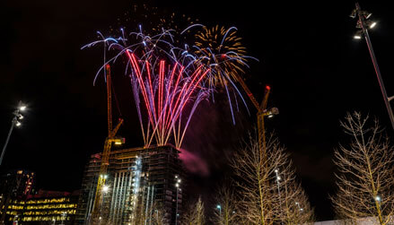 Fireworks To Celebrate A New Building Launch