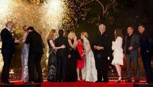 Pyrotechnics at the Hunger Games film premiere