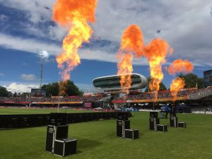flame jets in stadium