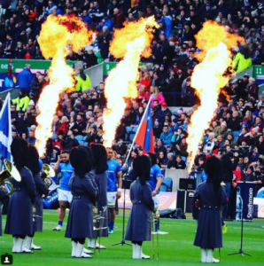 bagpipes and flames at Murrayfield