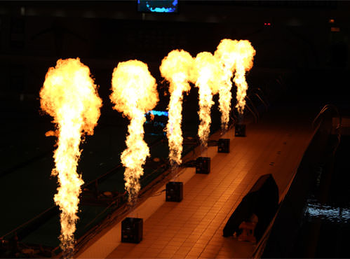 flame special effects for European championships in Glasgow