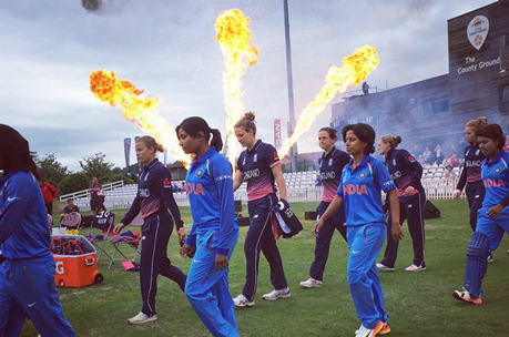 Flame effects at Women's Cricket World Cup entrance