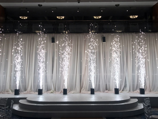 Wedding stage filled with mini sparkulars