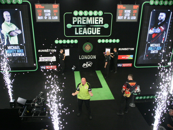 Sparkular Effect from sparkular machines at Premier League Darts