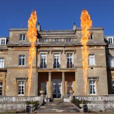 Hurricane flame machine firing outside venue