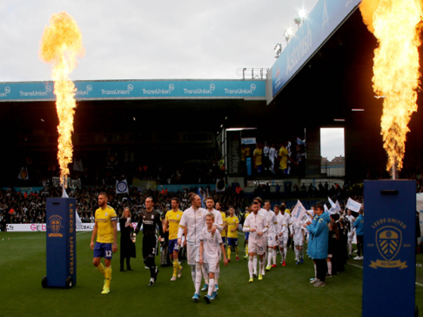 Leeds United FC use branded flames