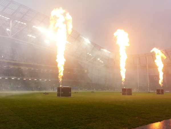 Rugby pitch side flames