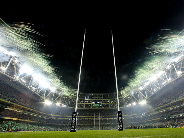 Rugby pitch roof pyrotechnics