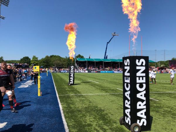 Saracens branded flames