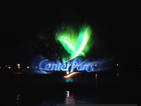 Water screen projection being displayed at Centre Parcs