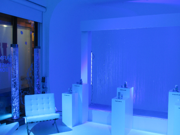 Bubble tubes used in a blue LED lit room