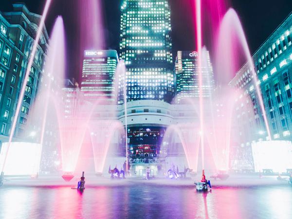 Canary Wharf using Dancing Fountains