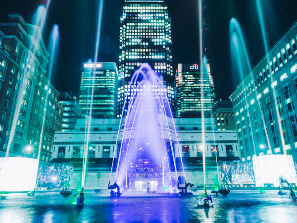 Dancing Fountains being used in Canary Wharf