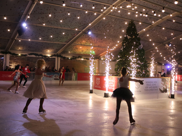 Winchester Cathedral iced rink using Sparkulars