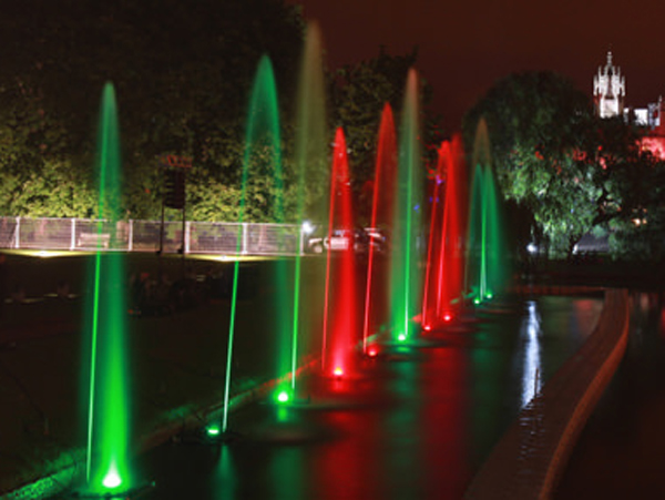 Water fountain display used for University party