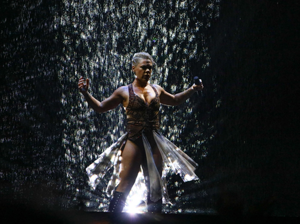 Pink has a water projection screen for her Brits performance